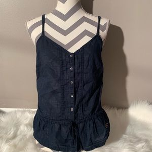 Hollister Size L Navy Blue 100% Top Length 25""